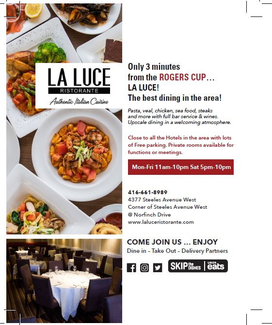 Celebrate The Rogers Cup With La Luce Ristorante