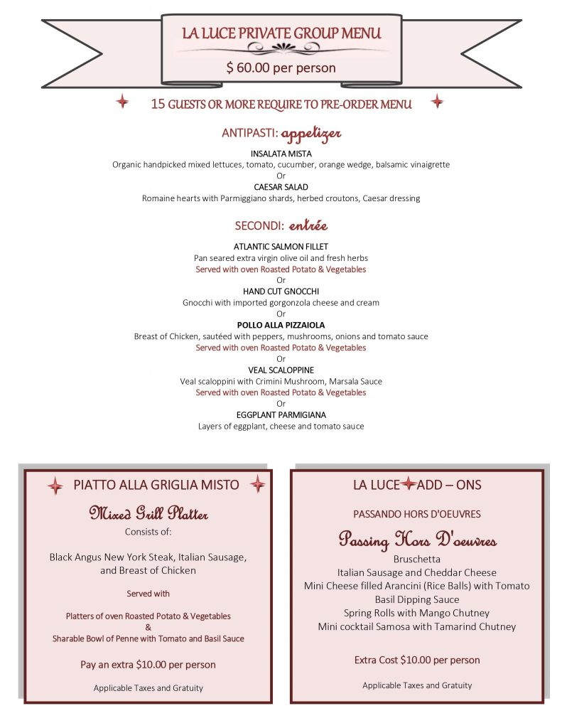 la luce Private Group Menu